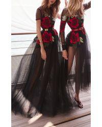 Elie Saab - Black Embroidered Tulle Dress - Lyst