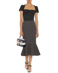 Dolce & Gabbana Black Polka-dot Flared Skirt
