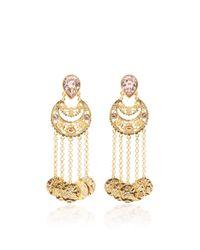 Oscar de la Renta | Pink Crystal Filigree C Coin Drop Earring | Lyst