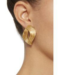 Oscar de la Renta - Metallic Twisted Ribbon Gold-tone Earrings - Lyst