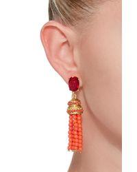 Oscar de la Renta - Red Bejeweled Tassel C Earring - Lyst