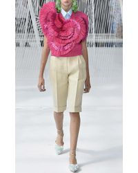 Delpozo - Multicolor Short Sleeve Frilled Knit Top - Lyst