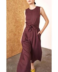 Ulla Johnson Brown Cunningham Cropped Jumpsuit
