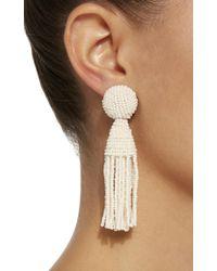 Oscar de la Renta - White Beaded Tasseled Earrings - Lyst