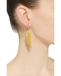 Sanjay Kasliwal - Metallic Gold Feather Earrings - Lyst
