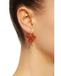 Annette Ferdinandsen | Red Fancy Orchid 18k Carnelian And Pearl Earrings | Lyst