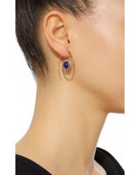 Noor Fares - Blue Spiral Moon Earrings In Yellow Gold With Lapis Lazuli & Diamonds - Lyst