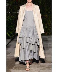Pascal Millet Black Oxford Striped Flounce Dress
