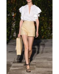 Pascal Millet White Poplin Top With Ruffled Armholes
