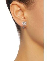 Colette Metallic Small Flower Huggies 18k White Gold Diamond Earrings