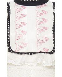 Giamba White Ruffle Lace Maxi Dress