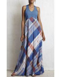 Warm Multicolor Plaid Dock Maxi Dress