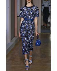 Agnona Blue Printed Intarsia Guipure Lace Dress