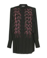 Marco De Vincenzo Black Satin Bow Embellished Button Up Shirt