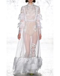 Vivetta White Cerianto Ruffle Long Sleeve Gown