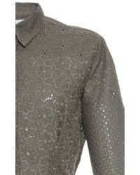 Blumarine | Green Eyelet Long Sleeve Midi Shirt Dress | Lyst