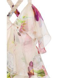 Blumarine Multicolor Floral Printed Sleeveless Ruffle Dress