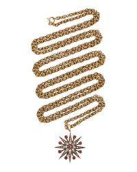 Toni + Chloë Goutal Metallic Evelyn One-of-a-kind Antique Gold Diamond And Ruby Necklace