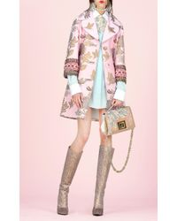 Andrew Gn Pink Floral Woven Coat