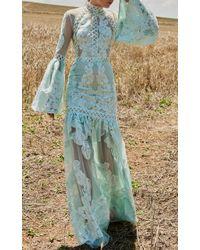 Costarellos Blue Drop Waist Bell Sleeve Dress