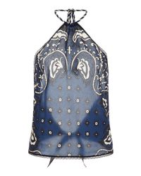 RED Valentino Blue Silk Bandana Halter Top