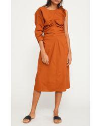 Sea Brown Clota Ruched Bow Sleeve Dress