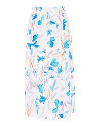 Agnona - White Silk Crepe De Chine Printed Flower One Seam Skirt - Lyst