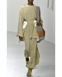 Loewe - Natural Maxi Skirt With Cut Out Leather Inserts - Lyst