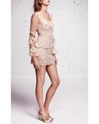 Blumarine - Natural Macramé Dress With Floral Applique - Lyst