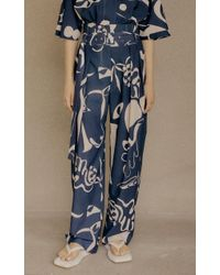 Low Classic Blue Pleated Printed Crepe Wide-leg Trousers
