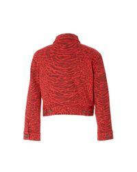 Current/Elliott Red The Baby Leopard Print Trucker Jacket