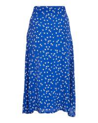 Faithfull The Brand Blue Valencia Floral Voile Wrap Midi Skirt