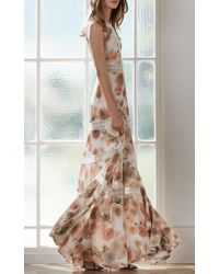 Needle & Thread Multicolor 'pink Peony' Lace Trim Floral Print Gown