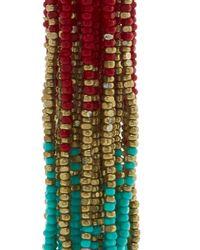 Oscar de la Renta | Red Ombre Long Beaded Tassel Clip On Earrings | Lyst