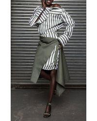 Monse Green Asymmetrical Wrap Skirt