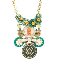 Lulu Frost Blue One-of-a-kind Brass Flower And Amber Crystal Necklace