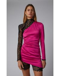 Dundas Pink Enverse Satin Stretch Dress