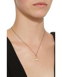 Monica Rich Kosann Metallic 18k Gold Diamond Square Lock Charm Necklace