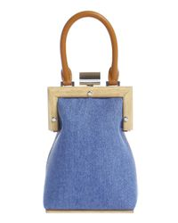 PERRIN Paris Blue La Minaudiere Denim Bag