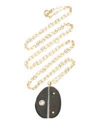 Cvc Stones Black Lizzie 18k Gold, Stone And Diamond Necklace