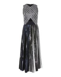 Proenza Schouler - Gray Cutout Pleated Lamé Midi Dress - Lyst