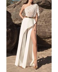 Zuhair Murad White One-shoulder Embroidered Wide-leg Cady Jumpsuit