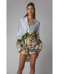 Monse Multicolor Oversized Printed Silk-satin Shirt