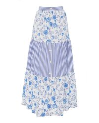 Mds Stripes Blue Exclusive Tiered Cotton Maxi Skirt