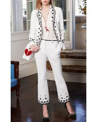 Paule Ka White Embroidered Cropped Trouser
