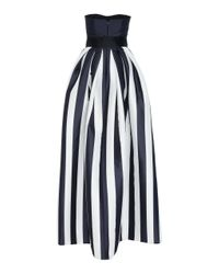 Monique Lhuillier Black Striped Mikado Bow-waist Strapless Ball Gown With Full Skirt