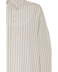 Partow White Hugo Collared Striped Cotton-silk Blend Shirt