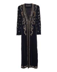 Dundas Black Bead-embellished Velvet Kimono