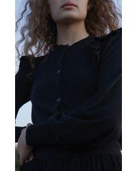 Co. Black Frilled Shoulder Knit Cardigan