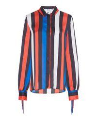MSGM Blue Fringe Button Down Shirt